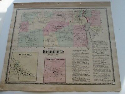 "1868 Antique Map, F. W. Beers, Otsego Co. Atlas,  ""The Town Of Richfield"". Plus"