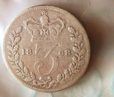1868 GREAT BRITAIN 3 PENCE - Great Uncommon Series Silver Coin - Lot #821