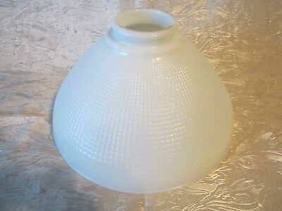 "Vntg 10"" Corning White Milk Glass Waffle Diffuser Torchiere Floor Lamp Shade"