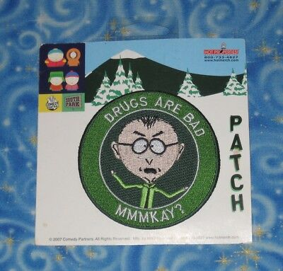 South Park Mr. Mackey Drugs Are Bad Fabric Patch Official Release 2007 Brand New