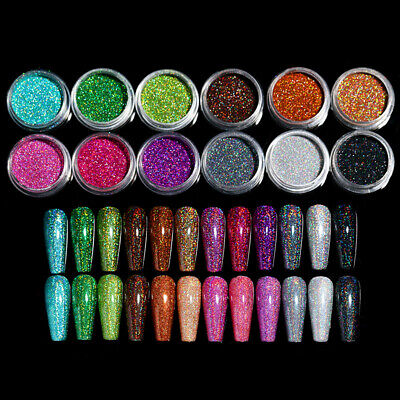 4 Boxes Holographic Nail Glitter Sequins Powder Paillette Nail Art Flakies Tips
