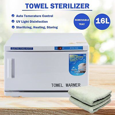 16L Towel Warmer Sterilizer Cabinet UV Disinfection Heater Tool Hotel + Towels