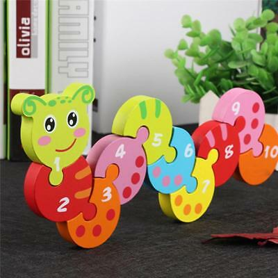 Funny Wooden Caterpillar Number Jigsaw Baby Puzzle Pre-School Toy  Hot LA
