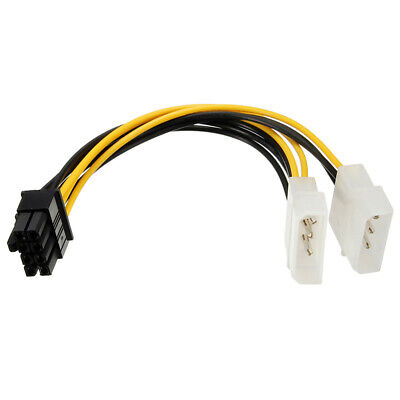 Duel 4 Pin Molex to 8 Pin PCIe Cable for Video Card Power Supply ASRock EVGA