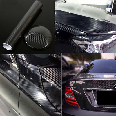 Super Gloss Carbon Fiber Vinyl Film Wrap Bubble Free Air Release 5D 6D 7D Black