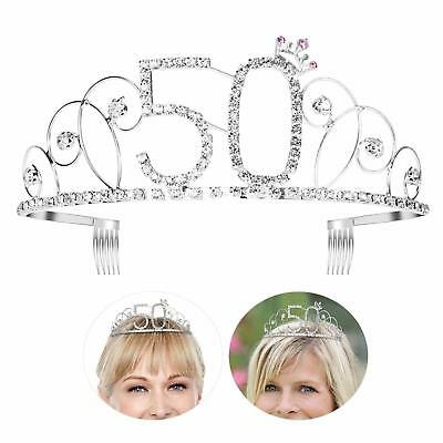 Tiara Happy Birthday Crown 50th Silver Crystal Halloween - 1 DAY DELIVERY