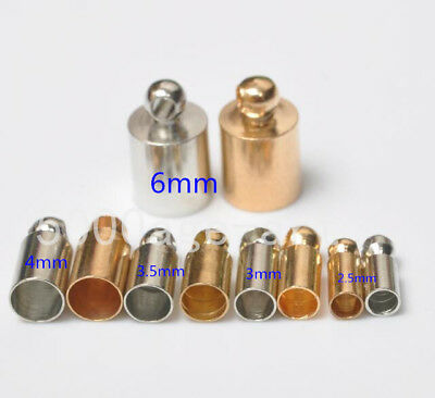 50pcs dull silver KC gold  Barrel Bead Leather Cord ends caps cord ends 2.5-6mm