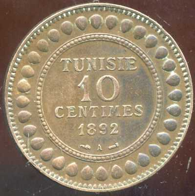 TUNISIE   10  centimes 1892 - 1309  ( SUP )