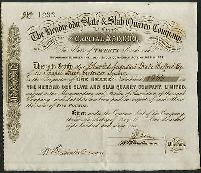 Hendre-Ddu Slate & Slab Quarry Co. Ltd., one £20 share, 1861