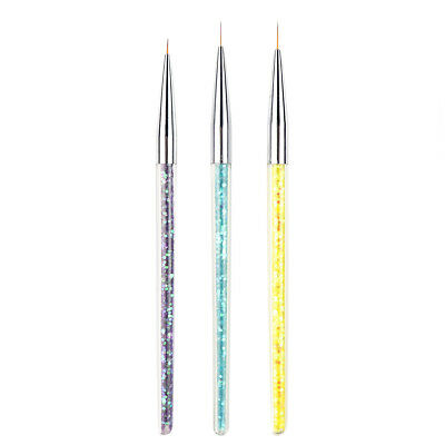 Set Of 3 Nail Art Liner Nail Painting Drawing Brush Pen For Manicure DIY Tool