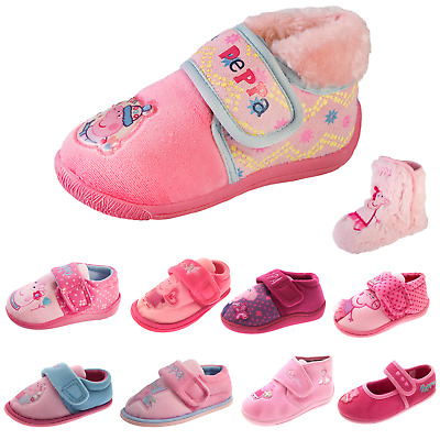 Peppa Pig Slippers Girls Pink Booties Character Indoor House Shoes Mules Size