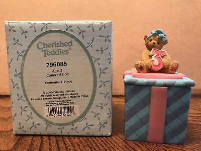 Enesco Cherished Teddies Birthday Age 3 Covered Box  796085