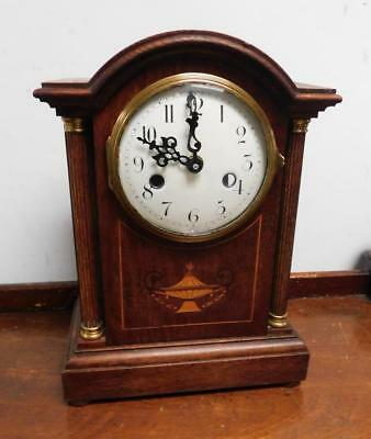 old oak  inlaid mantel clock ,now battery movement