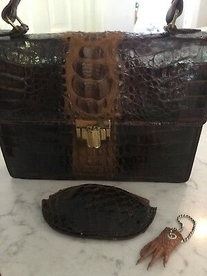 1950s Vintage Crocodile Purse Clutch Genuine Leather Taxidermy Baby Gator Caiman