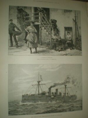 A Corner in Newhaven & USA Navy USS Baltimore 1890 prints ref AR