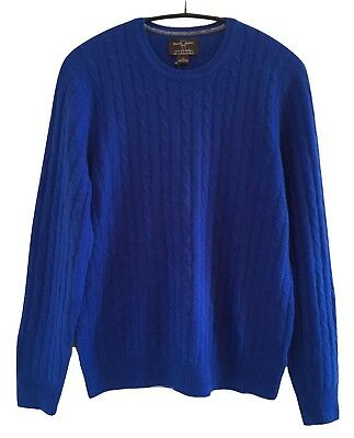 Black Brown 1826 Royal Blue 100% Cashmere Cable Knit Sweater NWT L