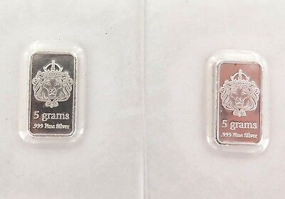 . 2 x UNC / STILL SEALED SCOTTSDALE SILVER 5 GRAMS .999 SILVER BARS.