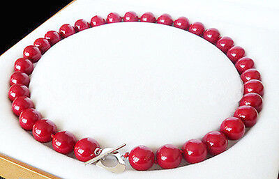 Genuine 12mm Natural Red South Shell Pearl Gemstones Round Beads Necklace 18''