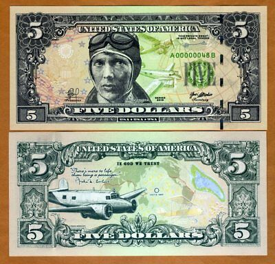 USA, $5, 2018, private Issue, essay proposed design, Amelia Earhart