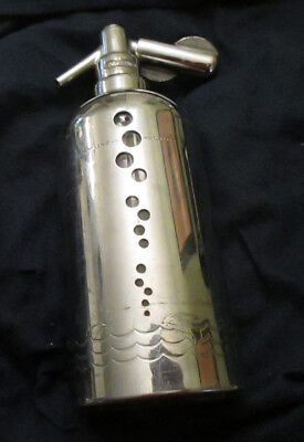 Very Good Condition Art Deco Fish & Bubbles Decorated Soda King Seltzer Bottle