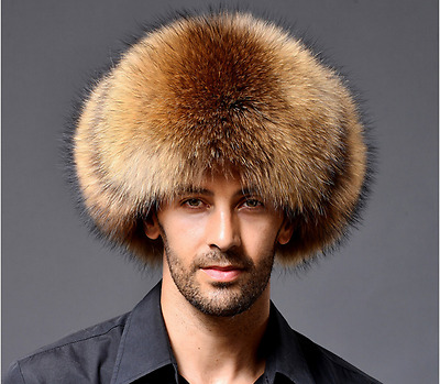 Ushanka Men's Winter Real Raccoon Fur&Lamb Leather Russian Cossack Trapper Hats