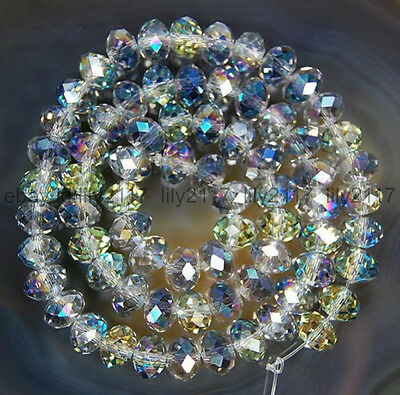 150pcs 3x4mm Multicolor AB Crystal Faceted Roundel Gems Loose Beads
