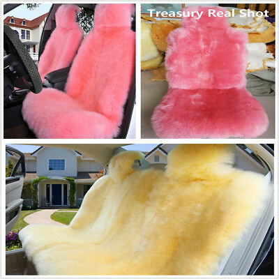 1Pcs Pink Natural fur Australian Wool Car Front Seat Cover Interior Accessories