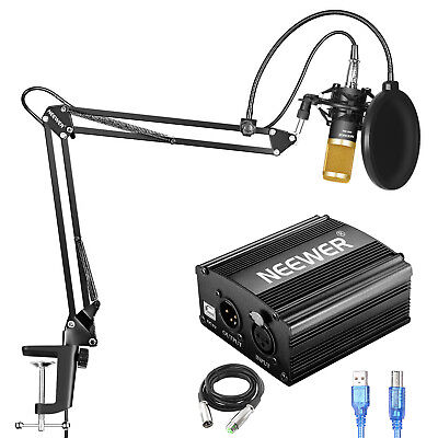 Neewer 6-in-1 NW-800 Condenser Microphone and 48V Phantom Power Supply Kit