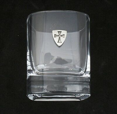 Templar Shield Pair of Crystal Tumblers Presentation Box Masonic Gift