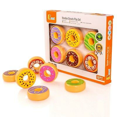 Viga Set of 6 Wooden Donuts Childrens Wood Play Food For Kitchen Cakes/Biscuits