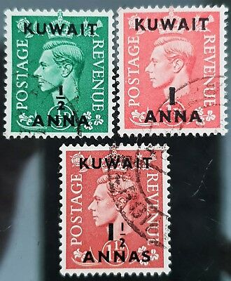 Kuwait 1948 to 1949 Sc # 72 to Sc # 74 Overprint VFU NH Used Stamps Part Set # 2