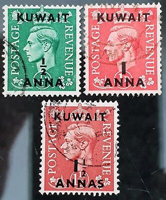 Kuwait 1948 to 1949 Sc # 72 to Sc # 74 Overprint VFU NH Used Stamps Part Set # 4