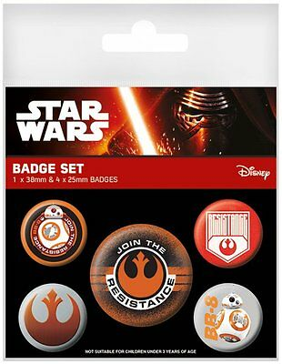 Button Badge 5er Pack STAR WARS 7 - Join The Resistance BB-8 1x38mm & 4x25mm NEU