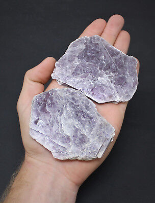 "2 Pack LARGE Lepidolite Leaves / Slabs (2"" - 4"") Layered Mica Crystal Mirror"