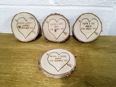 Personalised Engraved Wooden Log Slice Initials & Date -Wedding Gift - Heart