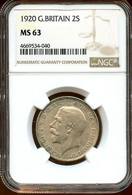 Wonderful 1920 NGC MS 63 Great Britain 2s One Florin Coin XF208