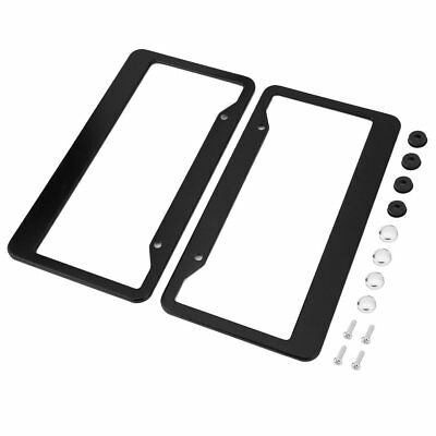 2*Aluminum Alloy Car License Plate Frame Tag Cover Holder w/ Screw Cap US Style