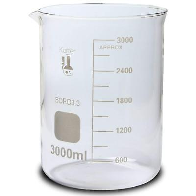 3000ml Beaker, Low Form Griffin, Boro 3.3 Glass, Graduated, Karter Scientific