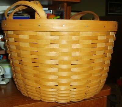 1995 Longaberger Large Round Bushel Basket With Leather Handles & Dresden Lid