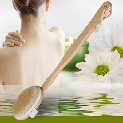 Natural Long Wood Wooden Body Brush Massager Bath Shower Back Spa Scrubber RY