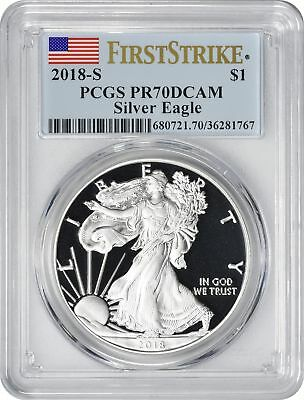 2018-S American Silver Eagle Dollar PR70DCAM PCGS Proof 70 DC First Strike