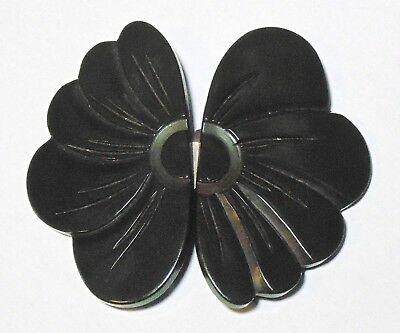 Vintage Carved Dark Green BAKELITE Flower Floral Belt Buckle Simichrome Tested