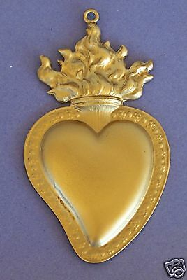 Large GOLDEN Flamed Sacred Heart Milagro Ex Voto