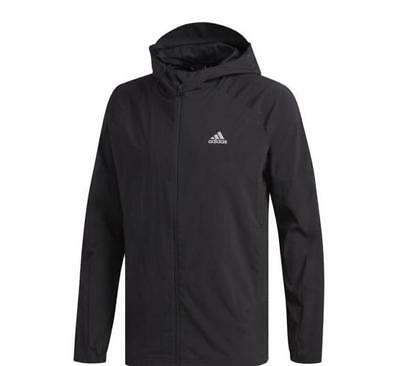 ADIDAS Sport ID Woven Jacket Mens Full Zip Front Hoody Wicking CZ5126 Black NWT