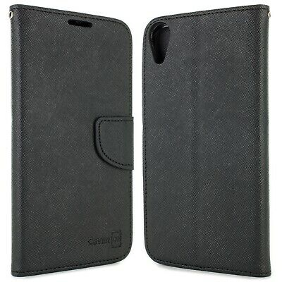 Black Wallet Phone Cover Folio Pouch Case for HTC Desire 828 + Screen Protector