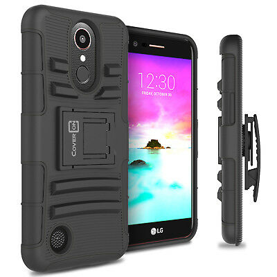 For LG K20 Plus / K20 V / K20V Holster Case Kickstand Hybrid Phone Cover Black