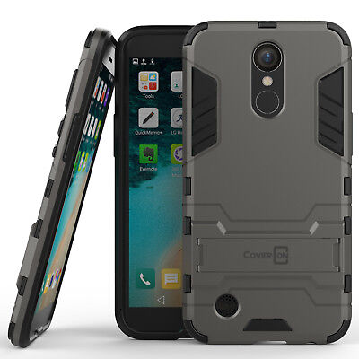 For LG K20 Plus / K20 V / K20V Hard Case Gray Kickstand Protective Phone Cover