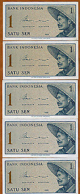 LOT, Indonesia, 5 x 1 Sen, 1964, P-90, UNC