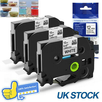 Brother TZ Tze Label Printer Tape 12mm Compatible P-Touch Laminated 18mm /9mm x8
