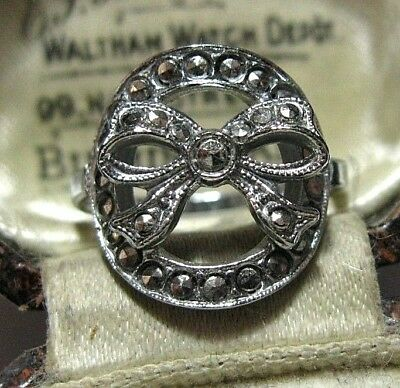 Vintage Antique Art Deco 1930's Pretty Marcasite Jewellery Bow RING K 1/2 5.5